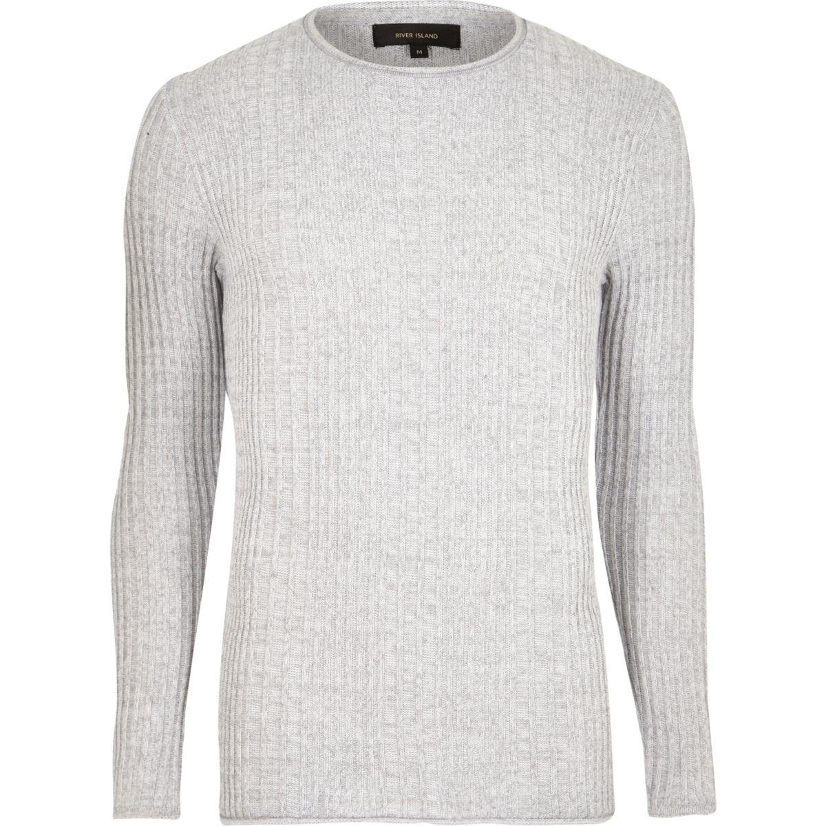 Light grey rib knit crew neck jumper