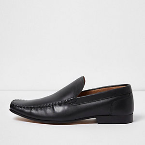 Black moccasin slip on shoes