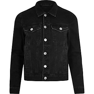 Black distressed denim jacket