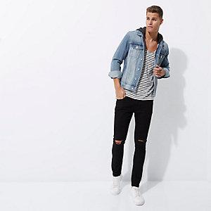 Veste en jean bleu clair usée à capuche