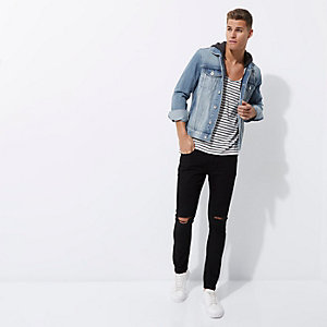 Lichtblauw distressed denim jack met capuchon