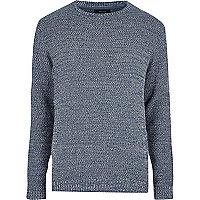 Blue textured knit jumper