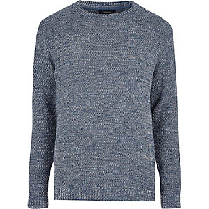 Blue textured knit sweater