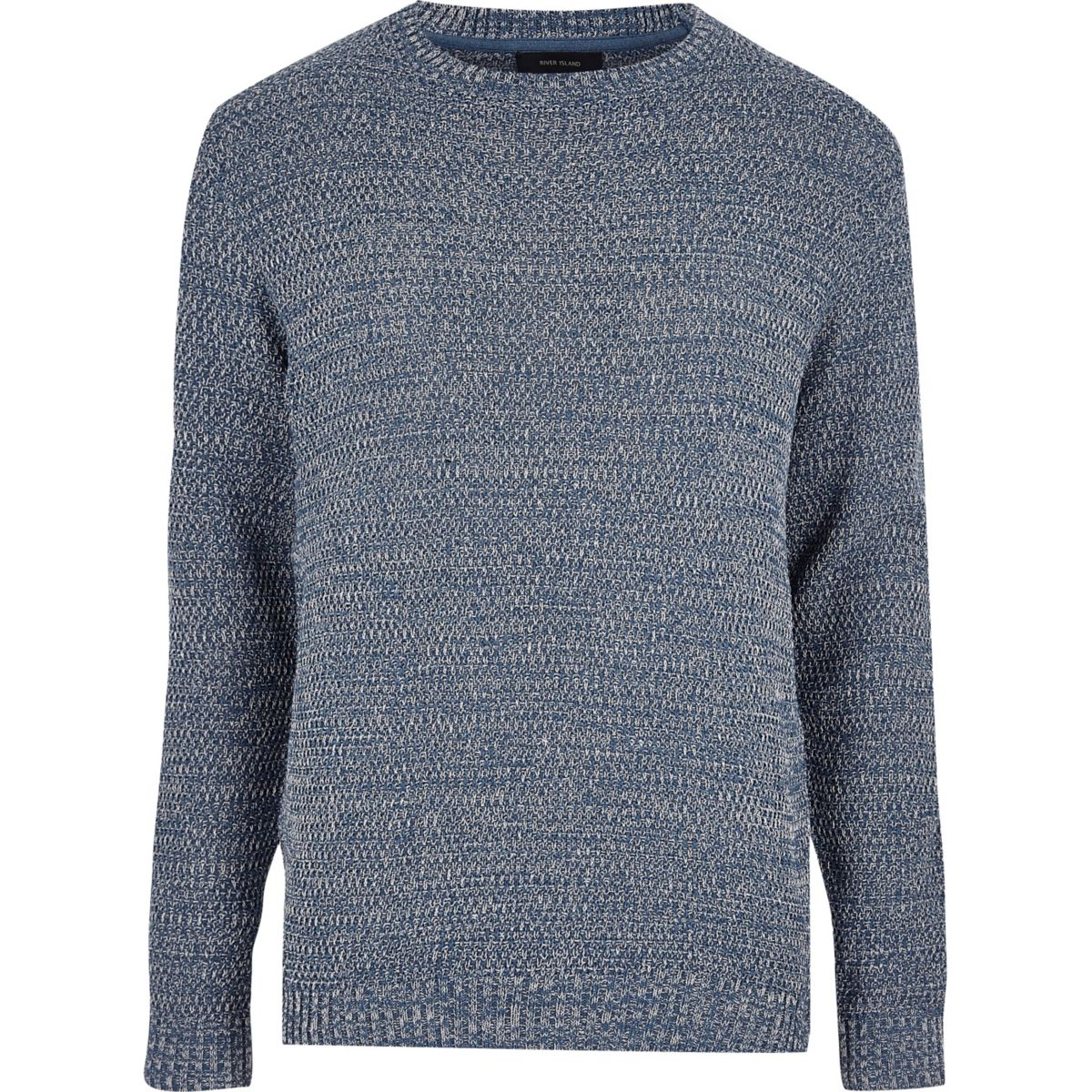 Blue textured knit jumper