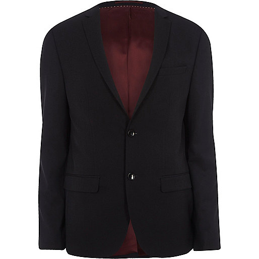 Navy skinny fit suit jacket