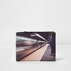 Portefeuille imprimé photo de métro noir