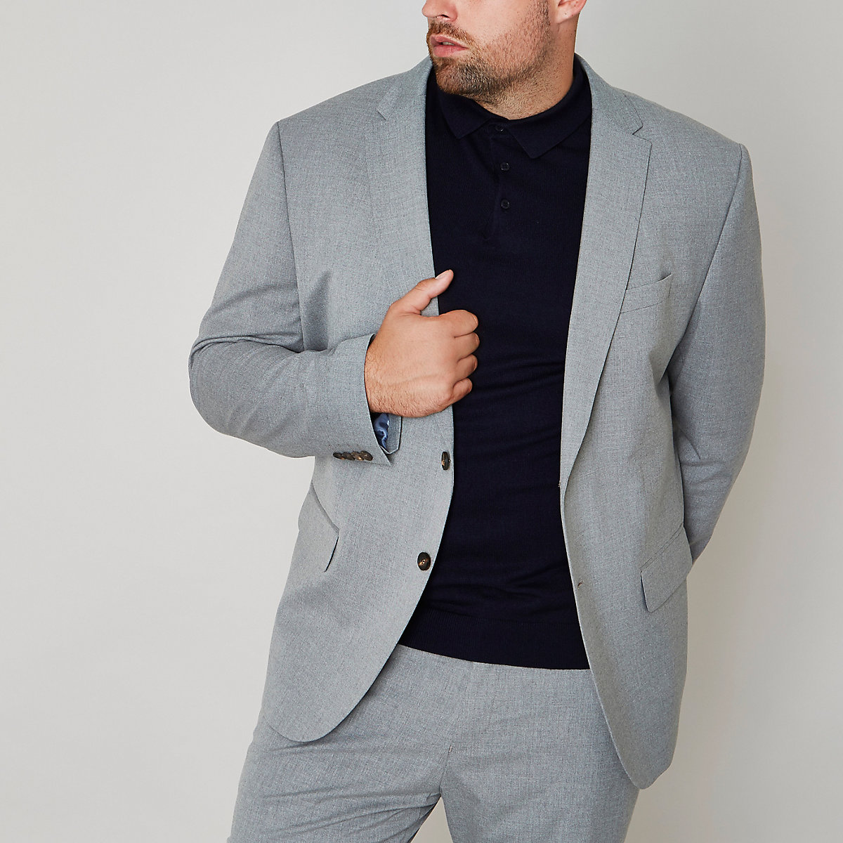Big and Tall grey slim fit suit jacket