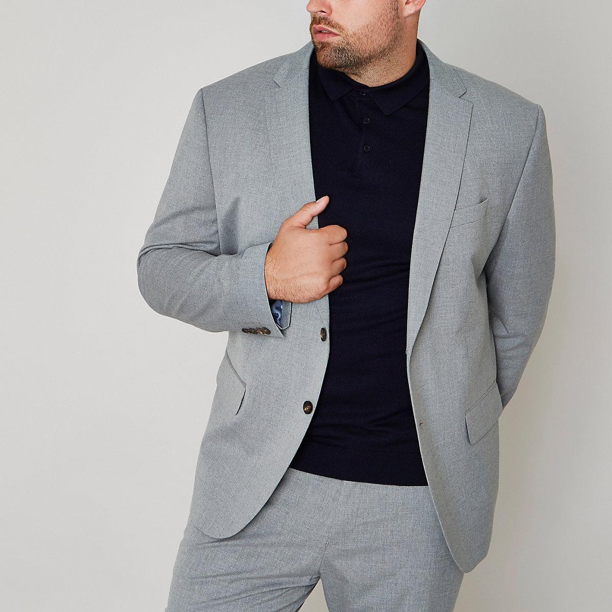 Big & Tall – Graue Slim Fit Anzugjacke