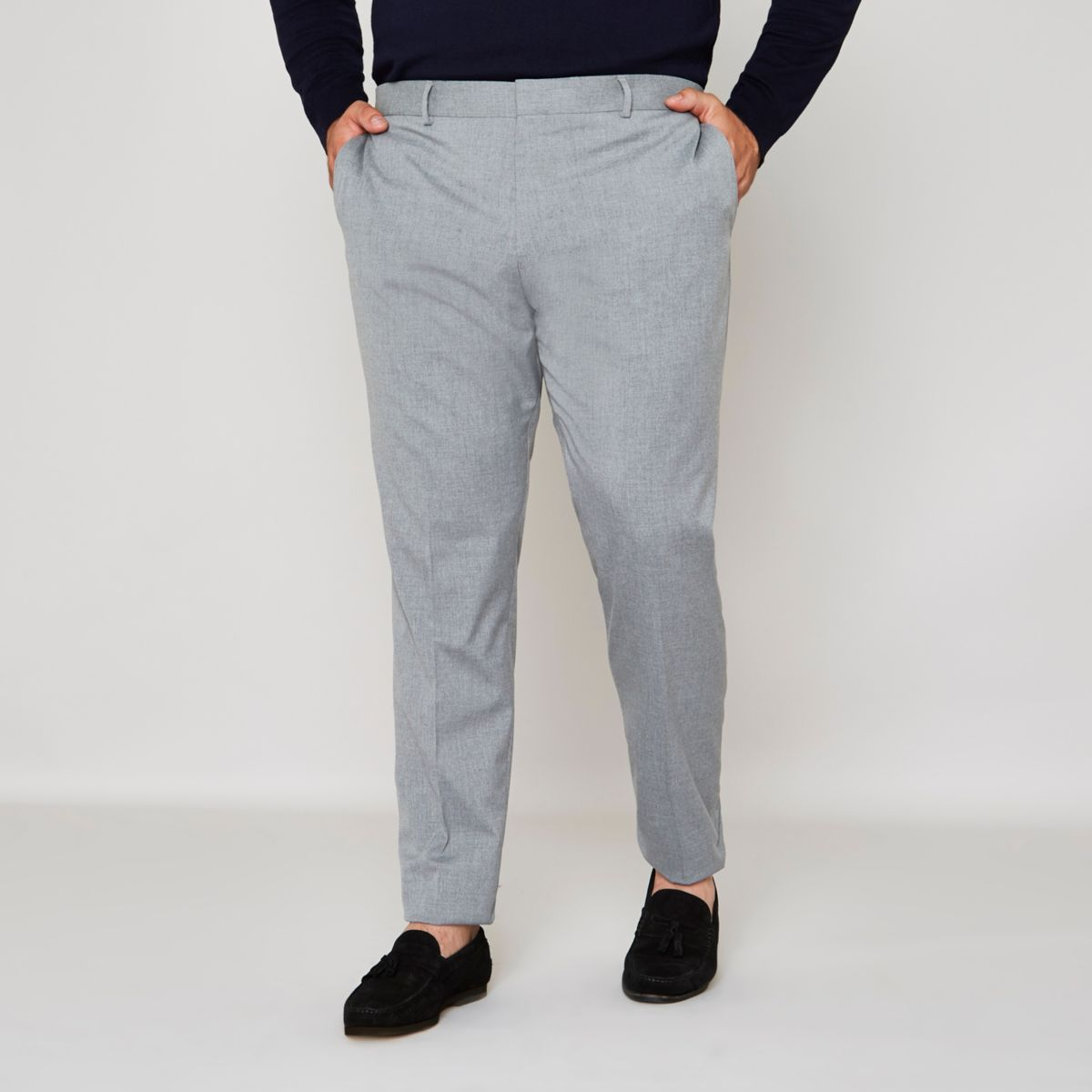 Big and Tall grey slim fit suit trousers