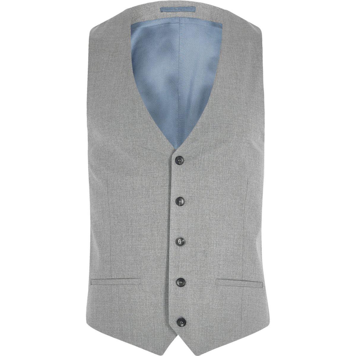 Big and Tall – Gilet de costume gris