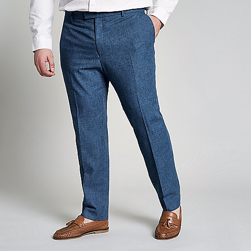 Big and Tall blue slim fit suit pants