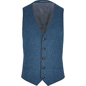 Big and Tall blue suit waistcoat