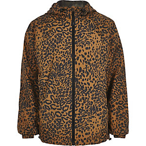 Brown leopard print hooded jacket