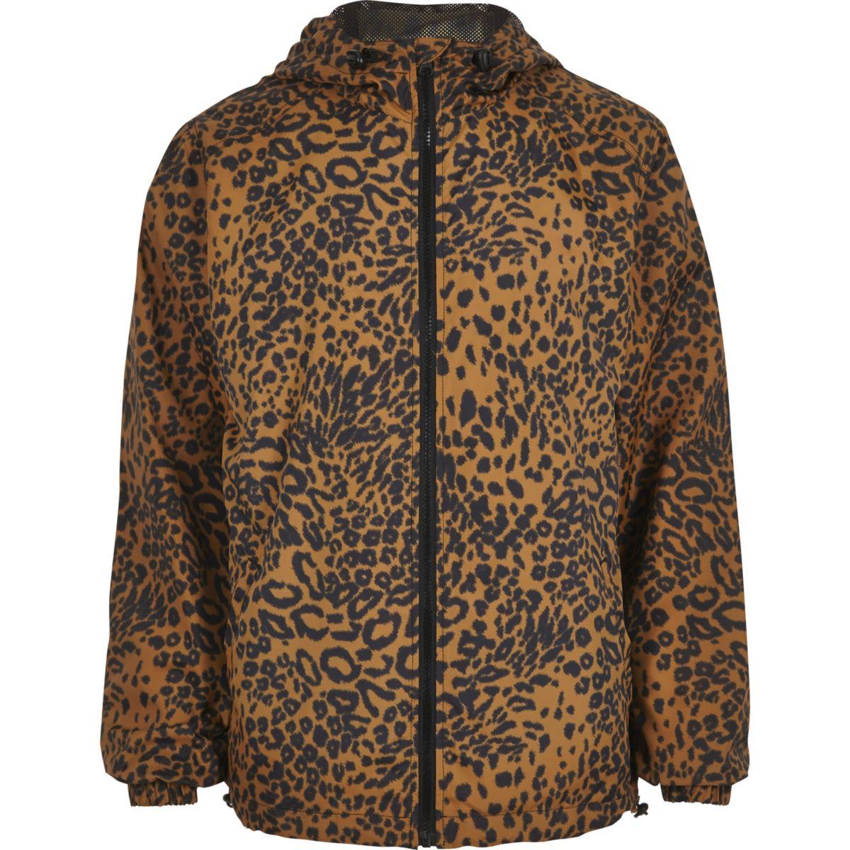 Brown leopard print hooded jacket