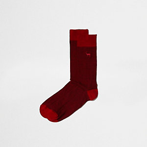 Chaussettes motif cerf rouges
