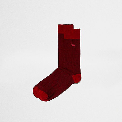 Red stag icon socks