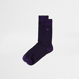 Purple stag icon socks