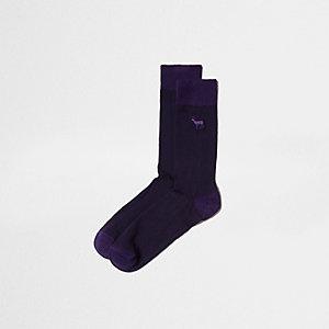 Chaussettes motif cerf violettes