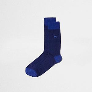 Chaussettes motif cerf bleues