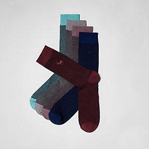 Multipack sokken met geborduurd hert, in rood en andere kleuren