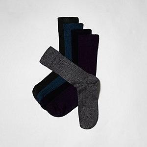 Multipack blauwe sokken met geborduurd hert