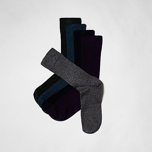 Blue stag embroidered socks multipack