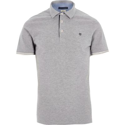 Jack and Jones Lichtgrijs premium poloshirt