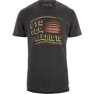Jack & Jones - Donkergrijs T-shirt met vintage print