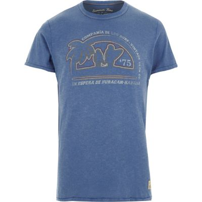 Jack and Jones Vintage blauw T-shirt met print