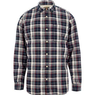 Marineblauw Jack and Jones vintage geruit overhemd