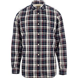 Marineblauw Jack & Jones vintage geruit overhemd