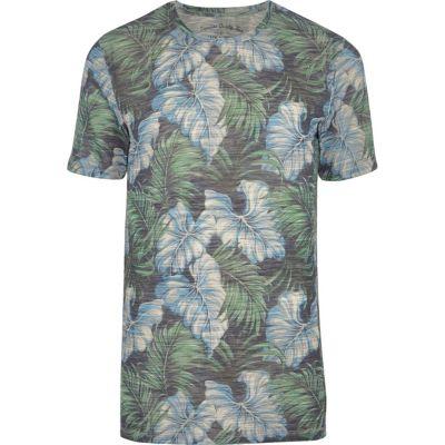 Jack and Jones Blauw T-shirt met vintage bladprint