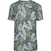 Blue Jack & Jones Vintage leaf print T-shirt