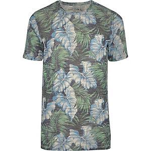 Jack & Jones Vintage – Blaues T-Shirt mit Blättermotiv