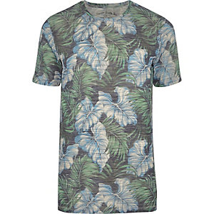 Jack & Jones –Vintage–T-shirt imprimé feuille bleu