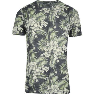 Jack and Jones Groen overhemd met vintage tropische print