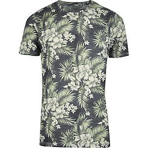Jack & Jones - Groen overhemd met vintage tropische print