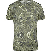 Brown Jack & Jones Vintage leaf print T-shirt