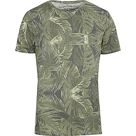 Brown Jack & Jones Vintage leaf print T-shirt