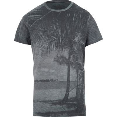 Jack and Jones Blauw T-shirt met vintage palmboomprint