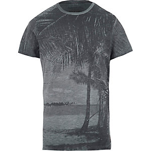 Jack & Jones Vintage – Blaues T-Shirt mit Palmenmotiv
