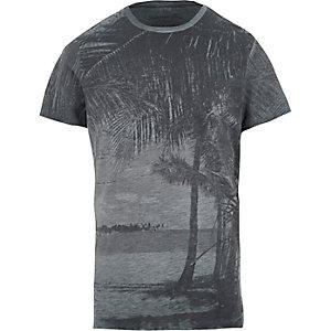 Jack & Jones - Blauw T-shirt met vintage palmboomprint