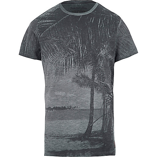 Blue Jack & Jones Vintage palm tree T-shirt