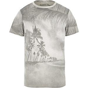 Jack & Jones - Grijs T-shirt met vintage palmboomprint