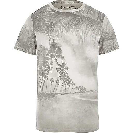 Grey Jack & Jones Vintage palm tree T-shirt