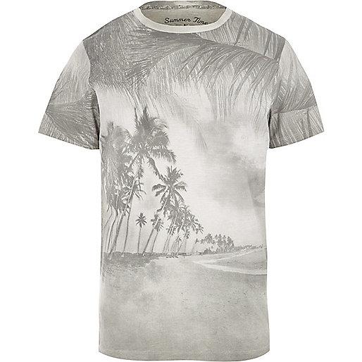 Grey Jack & Jones Vintage palm tree T-shirt