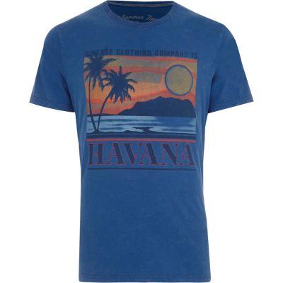 Jack and Jones Blauw T-shirt met vintage Havana'-print