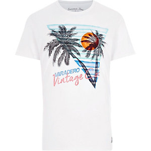 White Jack & Jones palm tree print T-shirt