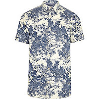 Blue Jack & Jones palm short sleeve shirt