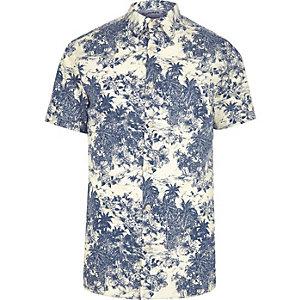 Blue Jack & Jones palm short sleeve shirt